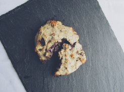 Soft baked dark chocolate & pistachio cookies