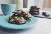 Soft baked dark chocolate & pistachio cookies