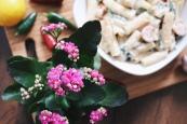 Cream cheese, spinach & tomato elicoidali