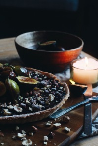 Roasted hazelnut and chocolate ganache tart, caramelised figs