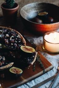 Roasted hazelnut and chocolate ganache tart, caramelised figs